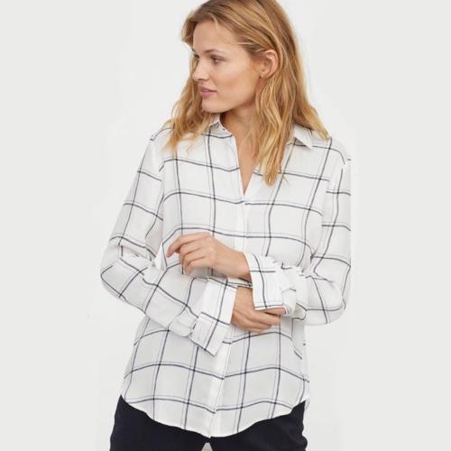 Foto Produk Kemeja H&M Longsleeve Blouse White Plaid Shirt Original HnM Putih dari OTOMO Store