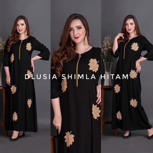 Foto Produk Dlusia Shimla | Longdress busui | Homey dress - Hitam dari Osya Collection