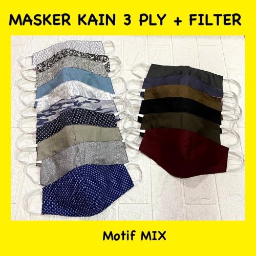 Foto Produk Masker 3ply / 3 lapis kain bisa di isi filter dewasa motif random dari Gajah-Store