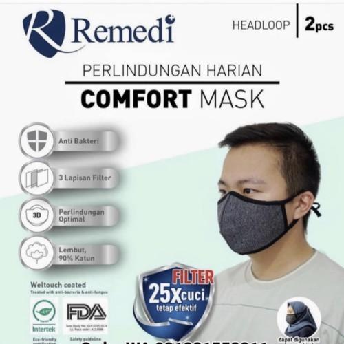 Foto Produk Masker kain remedi 3 ply isi 2 pcs dari Kitaro MotorShop