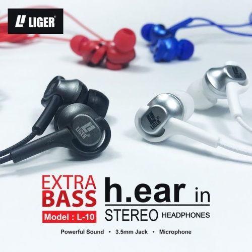 Foto Produk LIGER Handsfree headset earphone L-10 METAL stereo & bass - Hitam dari LIGER OFFICIAL STORE
