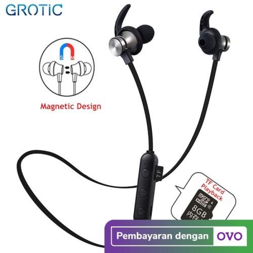 Foto Produk Headset Sport Wireless Bluetooth Magnet Stereo dengan Slot Kartu TF - Hitam dari APRoo