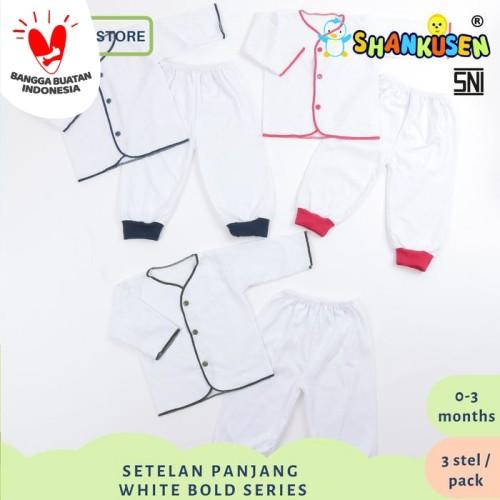 Foto Produk Setelan Baju Bayi Panjang Shankusen White Bold Series (3 stel newborn) dari Shankusen Baby Official