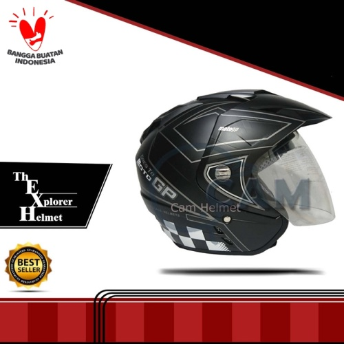 Foto Produk Helm DMN 2 kaca double visor moto gp black doff abu dari Cam Helmet