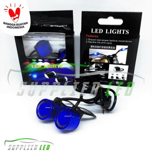Foto Produk Lampu LED Mini Eagle Eyes Mata Elang Strobo Kedip Spion Motor KODE 002 - Biru dari supplier led