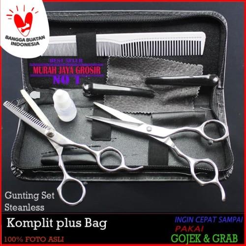 Foto Produk Set Gunting Rambut Salon Plus Dompet Bag Komplit Gunting Gunting sasak dari murah jaya grosir