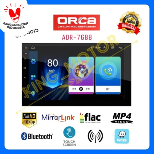 Foto Produk HU 2Din 7 Inch Android MirrorLink Full Glass Full HD ORCA ADR-7688 dari KING_MOTOR