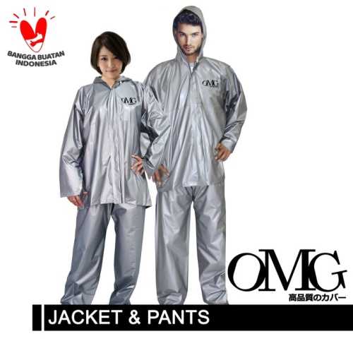 Foto Produk Jas Hujan OMG Jaket Celana Tebal Bagus High Quality - Silver dari GrosirOtomotif