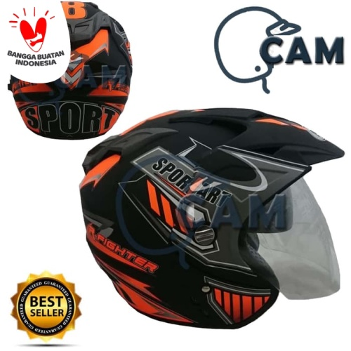 Foto Produk Helm 2 kaca (Double Visor) Murah Black doff Orange Sport DMN dari Cam Helmet