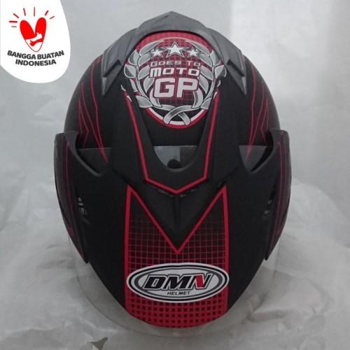 Foto Produk Helm DMN 2 kaca double visor moto gp black doff red dari Cam Helmet