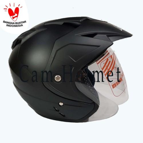 Foto Produk HElm GSP Jp-8 Black Doff 2 kaca (double visor) dari Cam Helmet