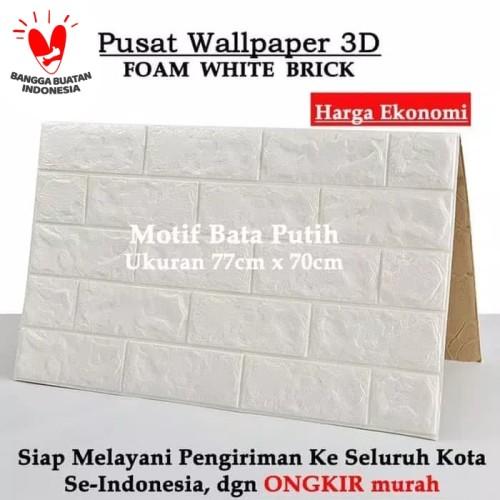 Foto Produk Wallpaper Brick Foam Dinding Bata 3D 70 x 77 cm Wallpaper Busa - Putih Bata dari dajessvin
