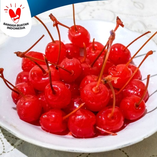 Foto Produk Buah Ceri Merah Maraschino Tangkai Cherry Hiasan Kue 40 pcs 500g dari Polococoa