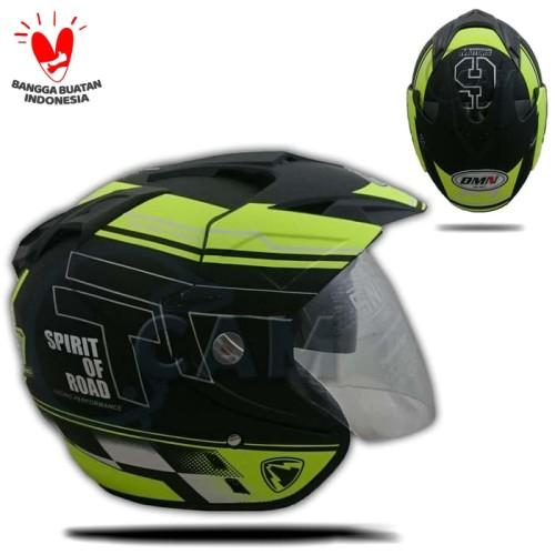 Foto Produk Helm 2 kaca (Double Visor) Murah Black doff Yellow R-9 DMN dari Cam Helmet