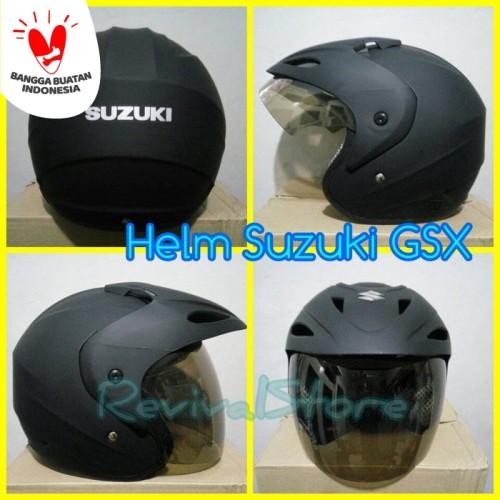 Foto Produk Helm SUZUKI GSX hitam dof / helm murah / helm half face dari Revival Store