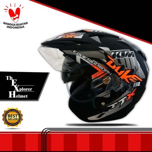 Foto Produk Helm 2 kaca (Double Visor) Murah Black doff Orange DUKE DMN dari Cam Helmet