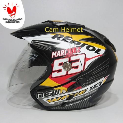 Foto Produk Helm 2 kaca (Double Visor) Murah Black doff Marquez Repsol Honda DMN dari Cam Helmet