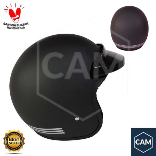 Foto Produk Helm Bogo Cam Polos List Black Doff pet dari Cam Helmet