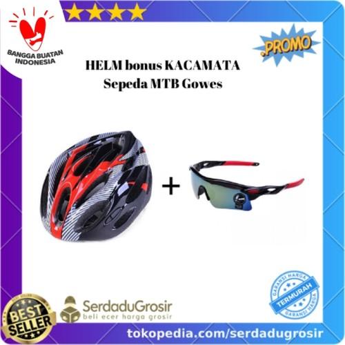 Foto Produk PROMO! Helm Sepeda MTB Gunung PVC BONUS Kacamata Sepeda Lensa Mercury dari SERDADU GROSIR
