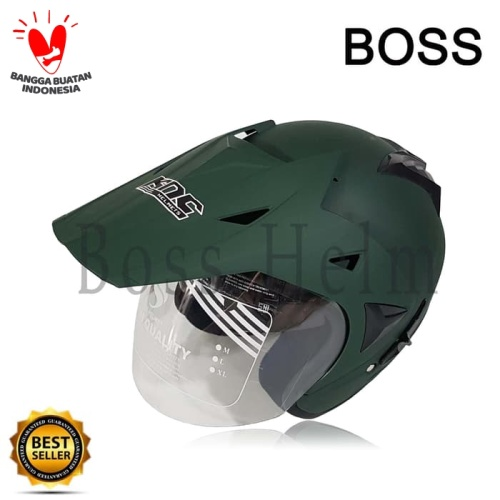 Foto Produk Helm Motor SNI 2 kaca KNC trail cross hijau army doff bukan nhk kyt dari Boss helm