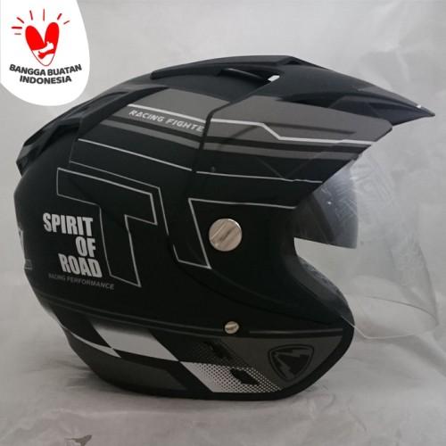 Foto Produk Helm 2 kaca (Double Visor) Murah Black doff Abu R-9 DMN dari Cam Helmet