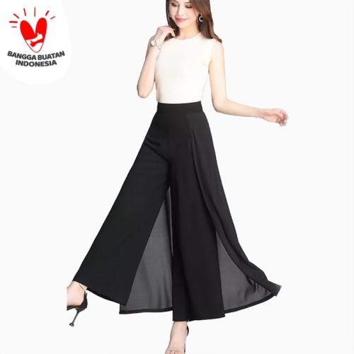 Foto Produk Celana Panjang gaya korea kombinasi sifon dewasa - Jfashion Nita - Hitam dari j--fashion