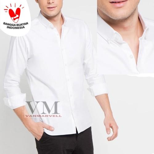 Foto Produk KEMEJA PRIA POLOS PANJANG SLIMFIT PUTIH LONG SLEEVE SHIRT - Putih, XL dari VM VanMarvell
