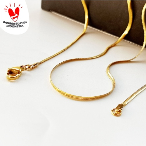Foto Produk Kalung Titanium VeE Model Belut Ular Pipih 50cm - Kalung Pria Wanita - Emas dari Vee Jewelry