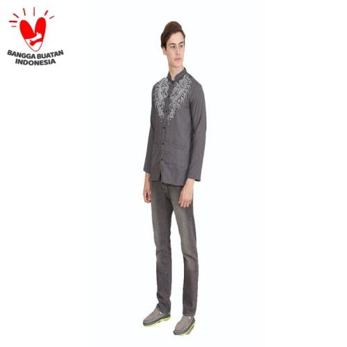 Foto Produk Jfashion Baju Koko Pria tangan panjang Printing - Yusuf Print - Abu -abu Tua, XL dari j--fashion