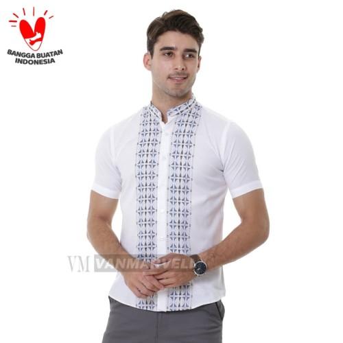 Foto Produk VM Baju Koko Putih Kemeja Muslim Tangan Pendek Slimfit - Putih, L dari VM VanMarvell
