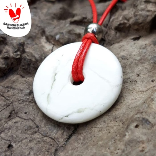 Foto Produk Kalung Liontin Giok Putih Model Koin Bulat Original dari Central Grosir Gemstone