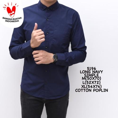 Foto Produk Kemeja Polos Pria Navy Biru Dongker Panjang Slimfit Kerja Cowok dari ALJOSA