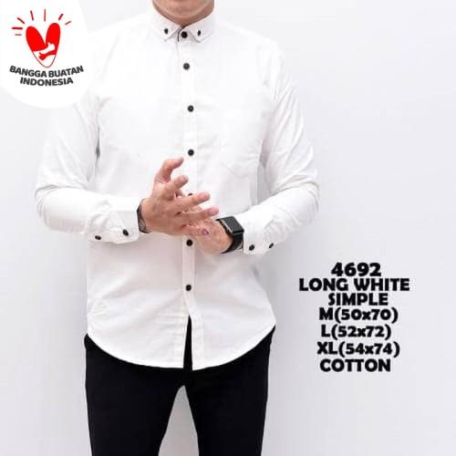 Foto Produk Kemeja Polos Putih Pria Simple / Baju Pakaian Slimfit katun White - M dari ALJOSA