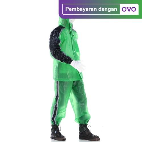 Foto Produk Jas Hujan Kaum 3.0 Terang Jaket Celana Transparan Made in Indonesia - Hijau dari Langit Biru