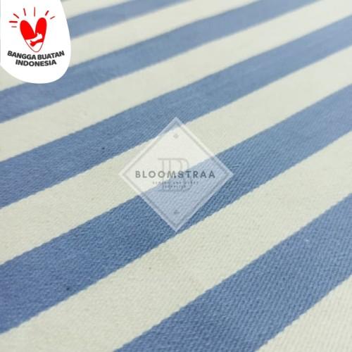 Foto Produk Bahan Kanvas Yarn Dyed Twill Salur Biru Putih Kain Kanvas Stripe Garis dari Bloomstraa