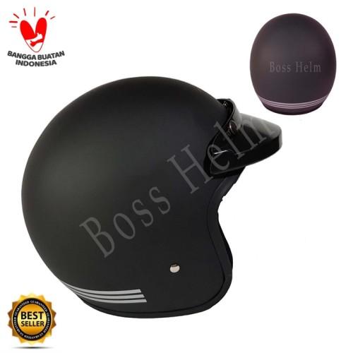 Foto Produk Helm Bogo list Black doff + pet (tanpa kaca) dari Boss helm