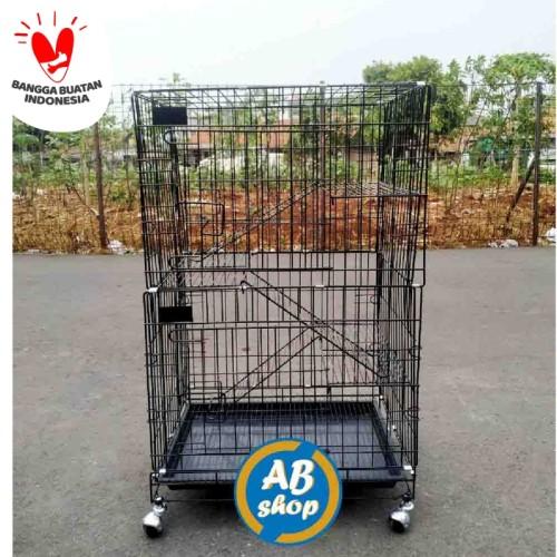 Foto Produk KHUSUS GOJEK/GRAB Kandang kucing tingkat 3 Ukuran 60x42x90 - Biru dari AMMAR BIRD SHOP
