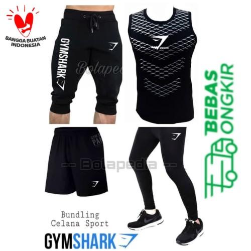 Foto Produk 4in1- BUNDLING GYMSHARK Stelan Baju olahraga kaos running gym training dari Bolapedia
