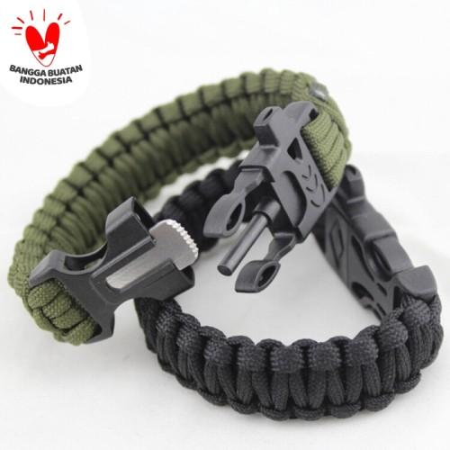 Foto Produk gelang paracord survival bracelet with magnesium fire starter peluit dari dpeakoutdoor