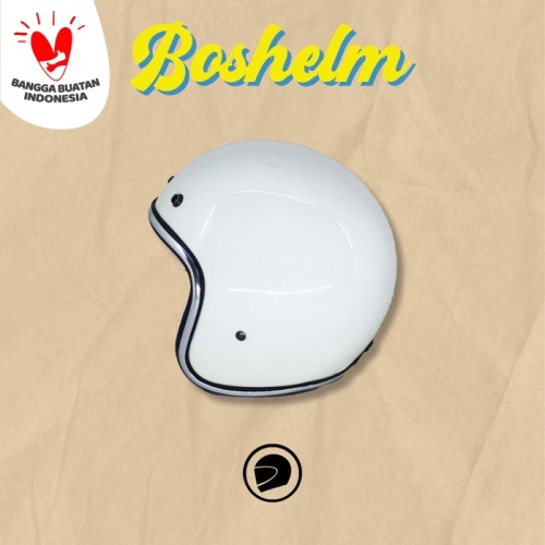Foto Produk Helm Retro List Chrome Putih Helm Basic List Chrome Helm Half dari BOSHELM