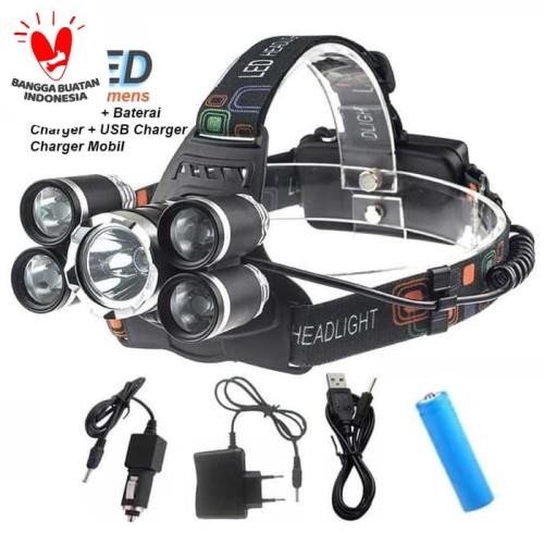 Foto Produk Paket senter kepala 5 LED Headlamp XML T6 40000 Lumens dari GROSIR-DKI