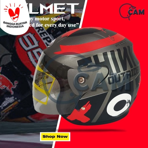 Foto Produk Helm Motor Evolution Lorenzo outride Abu doff SNI Bukan GM dari Boss helm