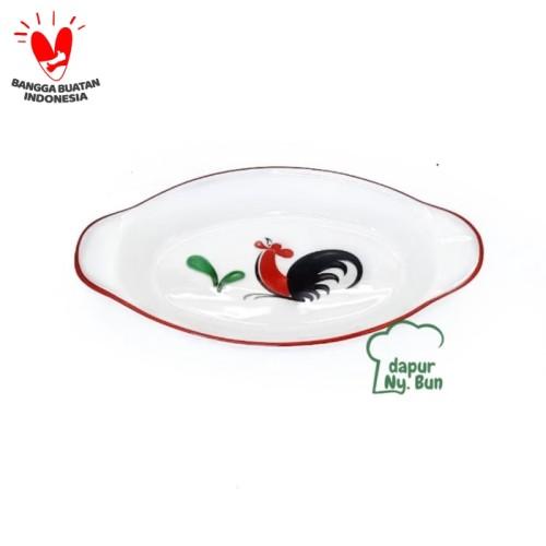 Foto Produk Mangkok Saji Oval - Motif Ayam Jago Seri 2 dari Dapur Ny.Bun