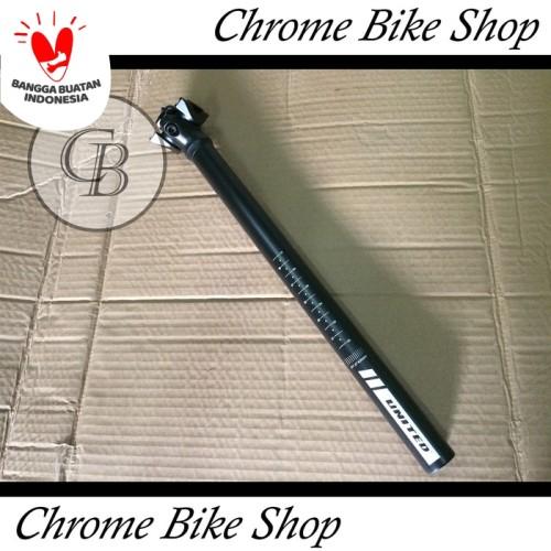 Foto Produk Seatpost Tiang Sadel Sepeda 27.2 Alloy Hitam 40cm United Speed dari Chrome Bike Shop