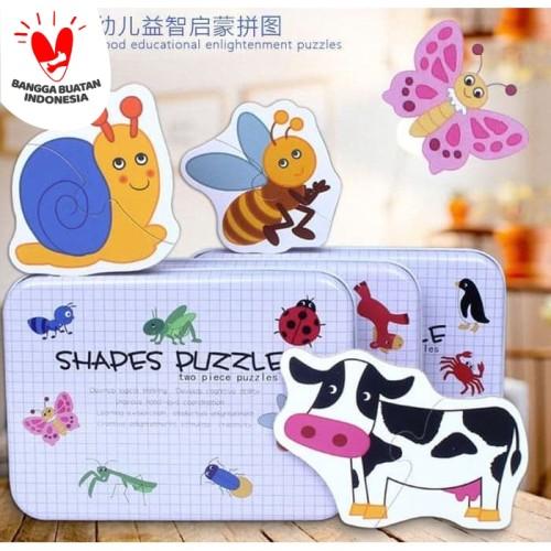 Foto Produk Puzzle Kayu / My First Puzzle Kaleng Putih - Shapes Puzzle - SAYUR dari TweedyToys