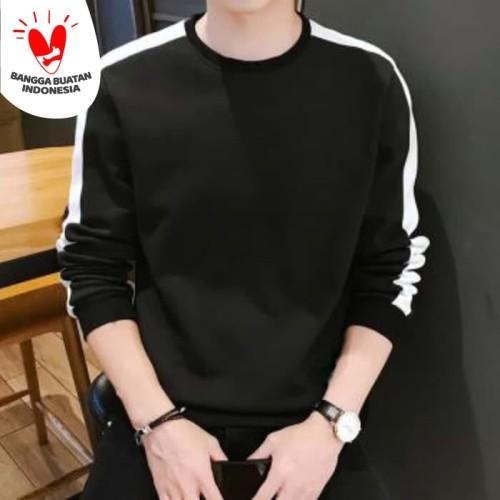 Foto Produk SWEATER STRIPE -Baju Kaos distro polos pria shoulder list casual korea dari Bolapedia