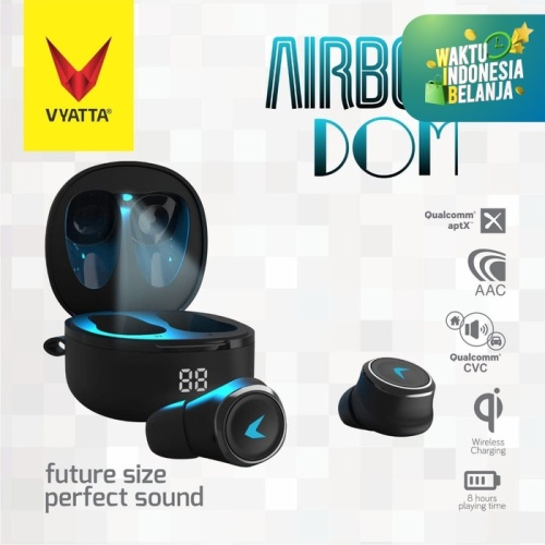 Foto Produk Airboom Dom TWS Bluetooth Earphone QCC Aptx - Auto Pairing, Wireless - Hitam dari VYATTA INDONESIA