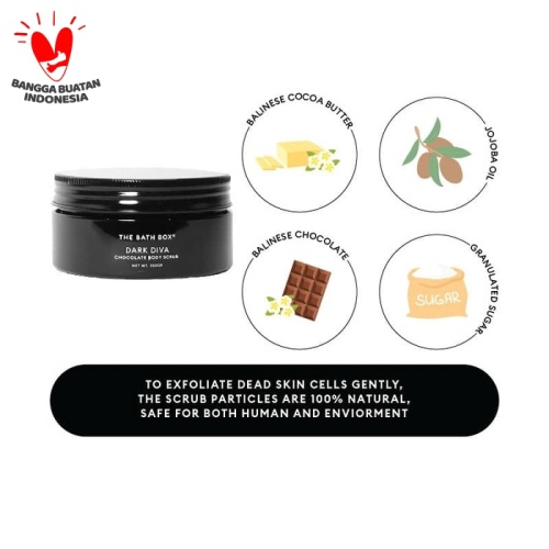 Foto Produk THE BATH BOX Dark Diva-Chocolate Body Scrub 250ml(chiken skin) dari The Bath Box Official