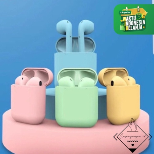 Foto Produk Inpods pods tws bluetooth headset earphone earbuds macaron pastel - GREEN dari Caseayangan ID