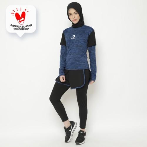Foto Produk Setelan Baju Training Outdoor Waldos Hijab Muslim Senam RROMO Blue dari Waldos Sports Apparel